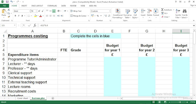 Free Small Business plan Template Excel