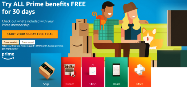 Claim your 30 days free trial of amazon prime membership