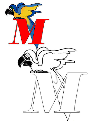 Mewarnai Alfabet Bahasa Inggris - M
