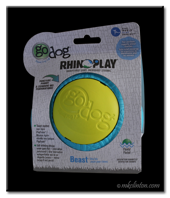 GoDog RhinoPlay Beast blue and yellow ball in package.