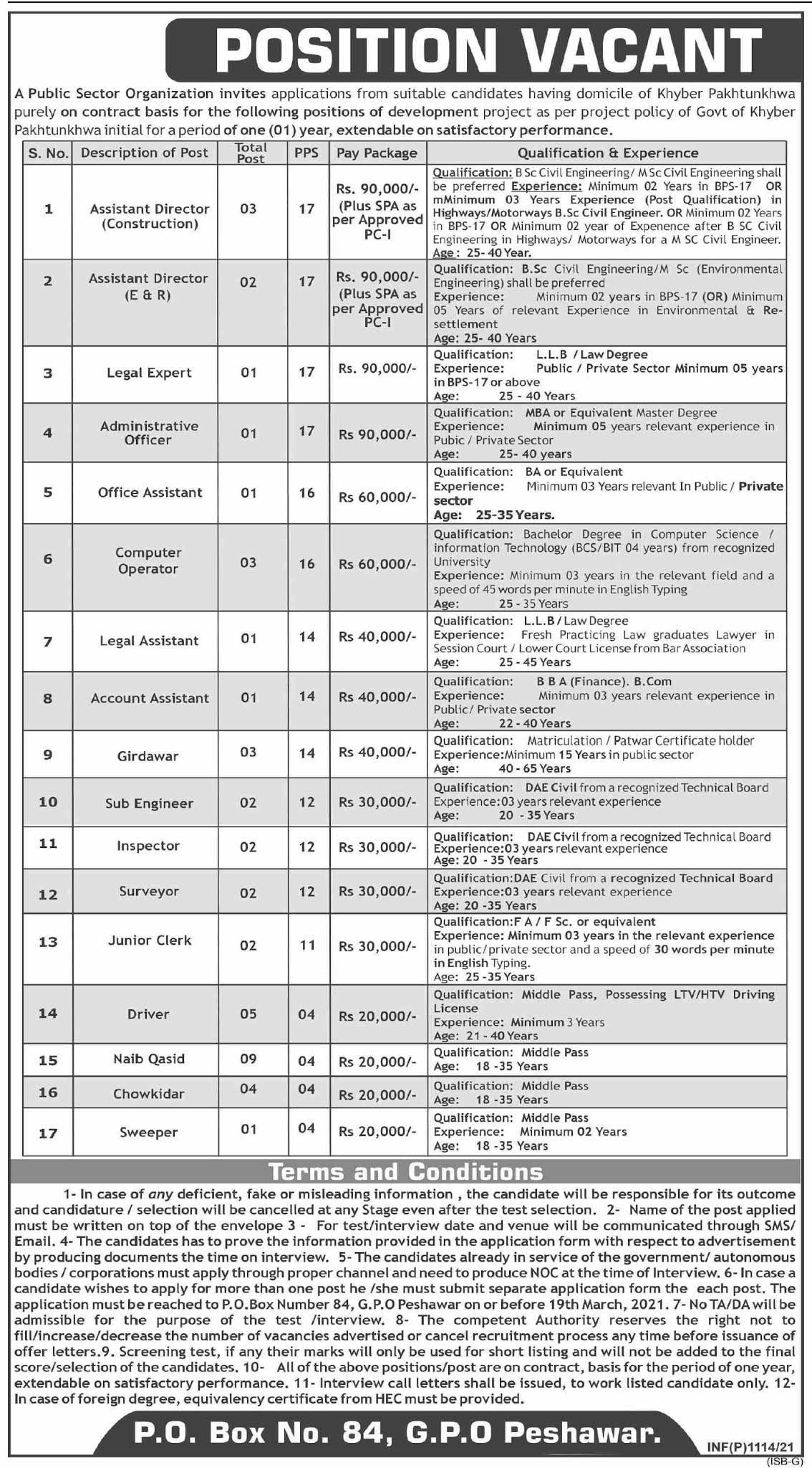 Public Sector Organization Jobs 2021 - PO Box 84 Jobs 2021 - Latest Govt Jobs 2021 For Male and Female in Pakistan 2021