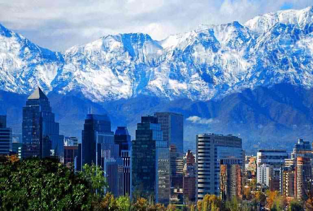 Partial view of Santiago, the Chilean capital.
