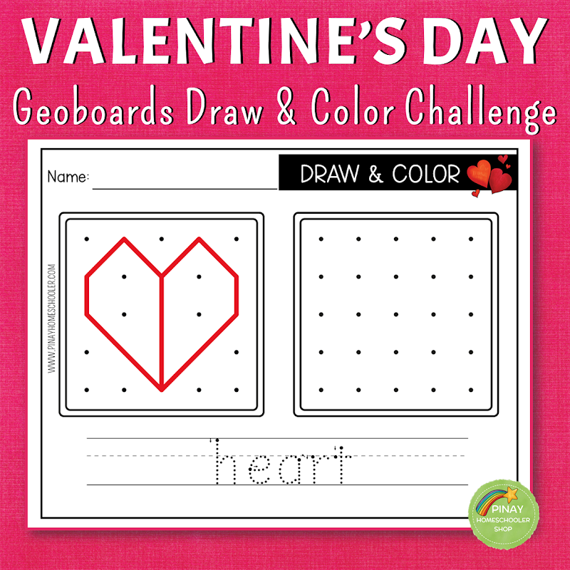 Valentines Day Themed Geoboard Draw and Color Game