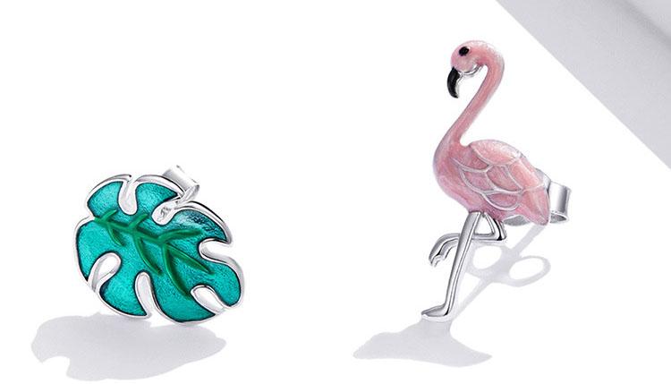 不對稱風滴釉火鶴與葉子 925純銀耳環