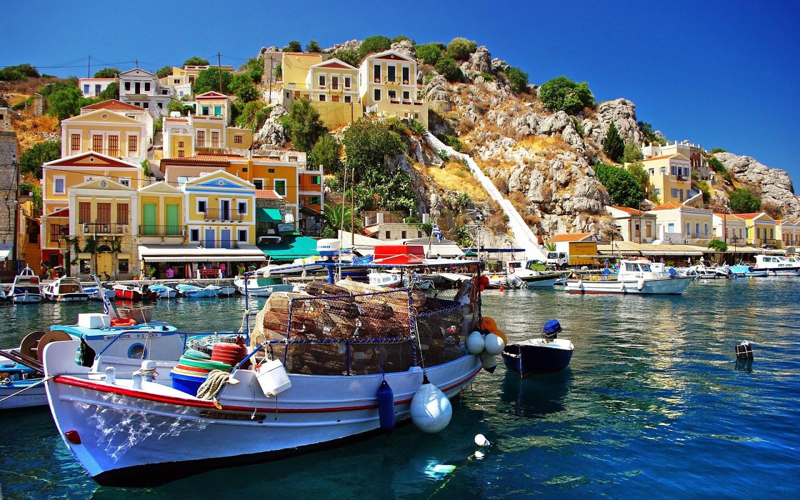 Fishing Village Greece Mystery Wallpaper