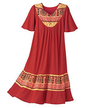 d6fd25cf3 Santa Fe Border Print Dress - 10504 - Lounge Dresses and MuuMuus ...