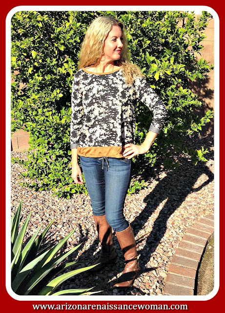 Oddi Suede Trimmed Washed Denim Pullover - October 2015 Golden Tote Review