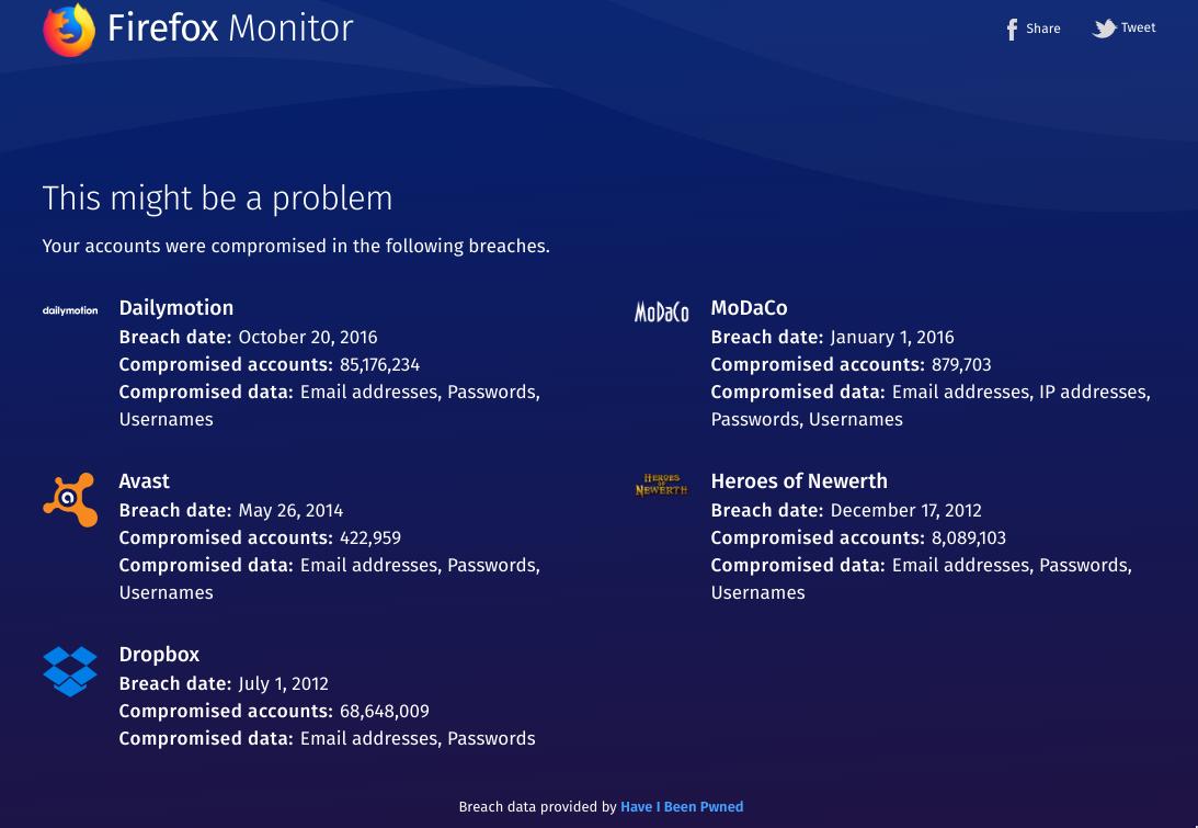 Firefox monitor ti dice se il tuo account stato hackerato for Mail il tuo account e stato hackerato