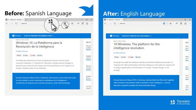 تحميل اضافة الترجمة لمتصفح مايكروسوفت ايدج Translator for Microsoft Edge.