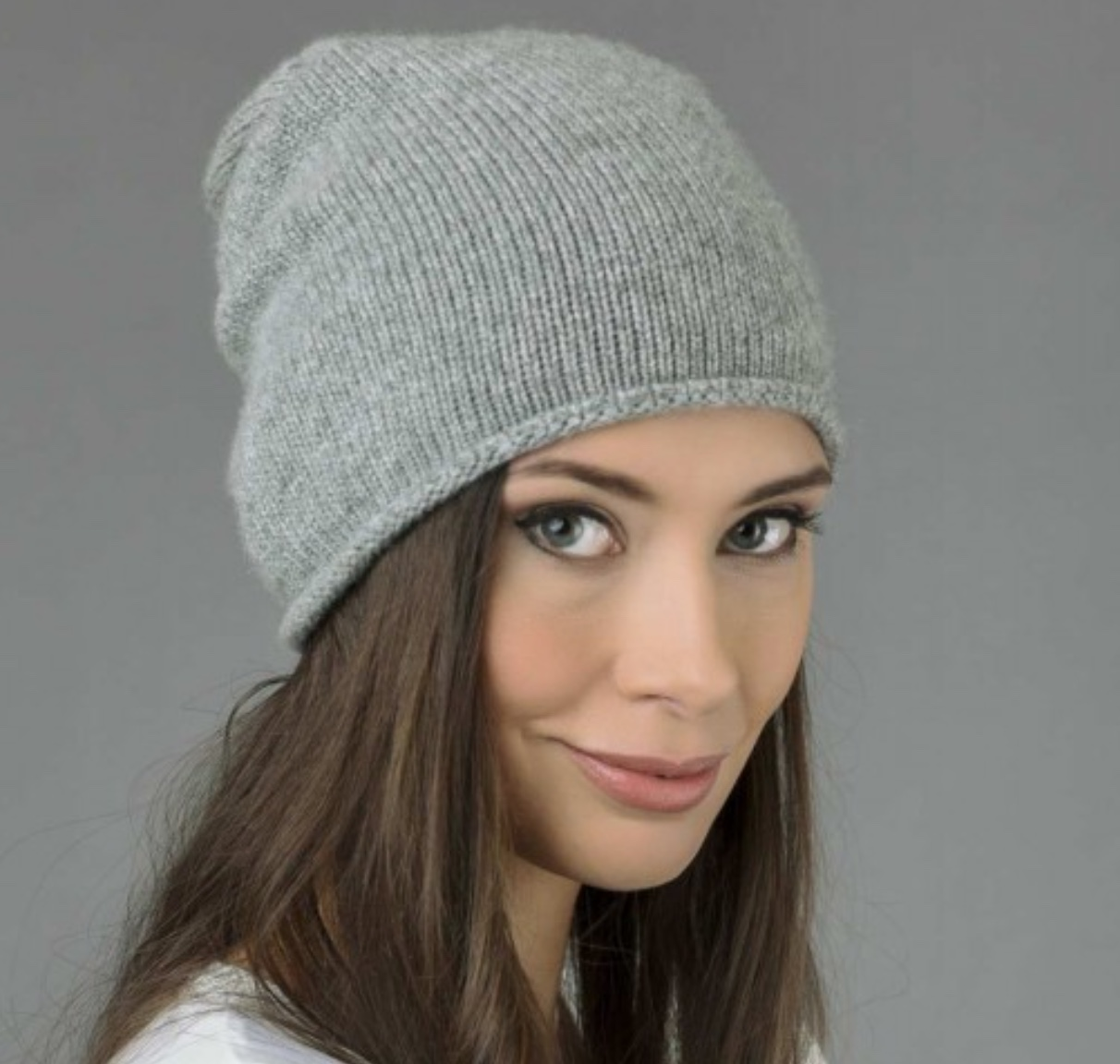 italy in cashmere pure cashmere plain knitted slouchy beanie