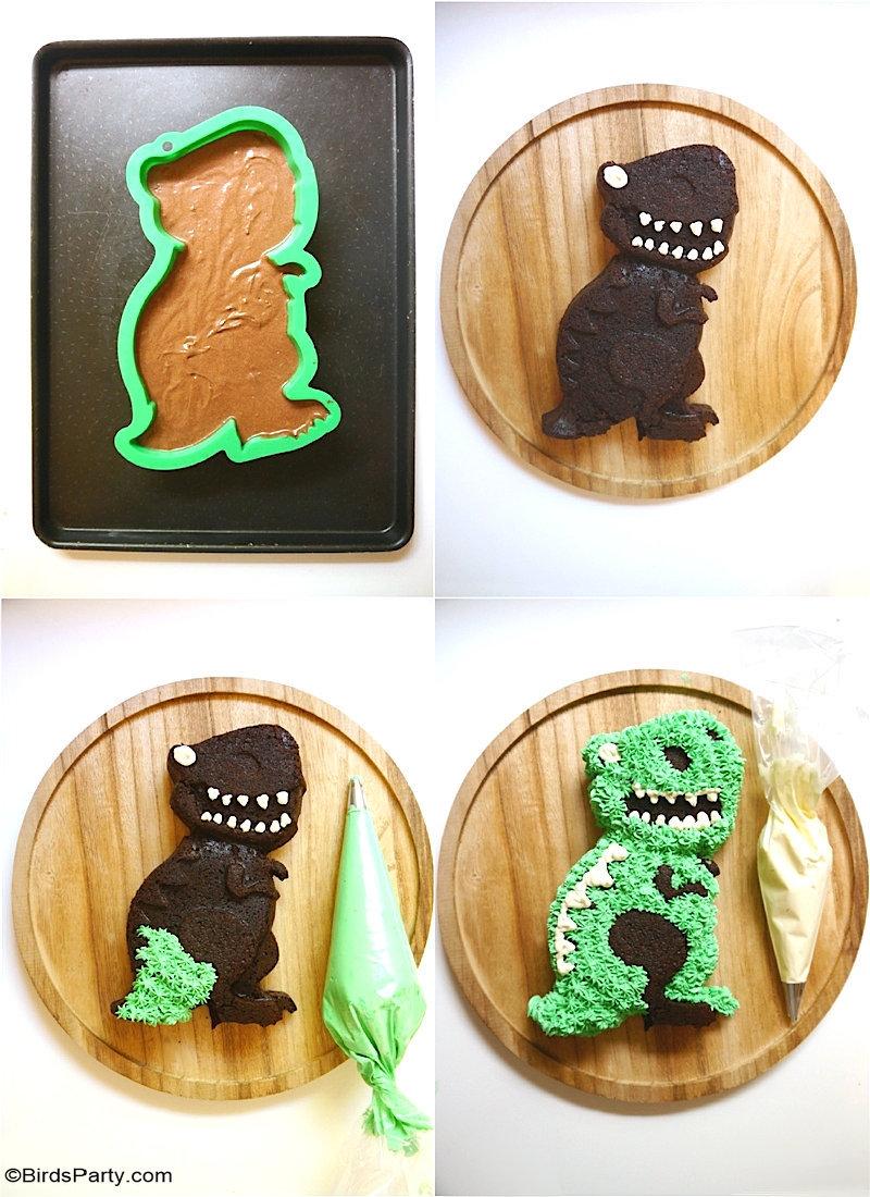 Easy Dinosaur Cake with Condensed Milk Frosting - easy to make and decorate for any child's birthday party, 1st birthday smash cake or school event! by BirdsParty.com #birdsparty #dinosaur #partyideas #cake #birthdaycake #dinosaurcake