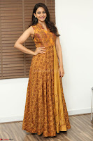 Rakul Preet Singh smiling Beautyin Brown Deep neck Sleeveless Gown at her interview 2.8.17 ~  Exclusive Celebrities Galleries 003.JPG