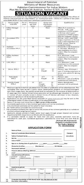 Today jobs-Ministry of Water Resource jobs in Pakistan 2021