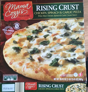 Box packaging for Mama Cozzi's Chicken, Spinach and Garlic Rising Crust Pizza, from Aldi
