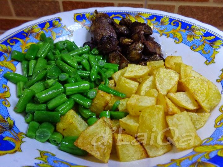 buncis, kentang dan hati ayam