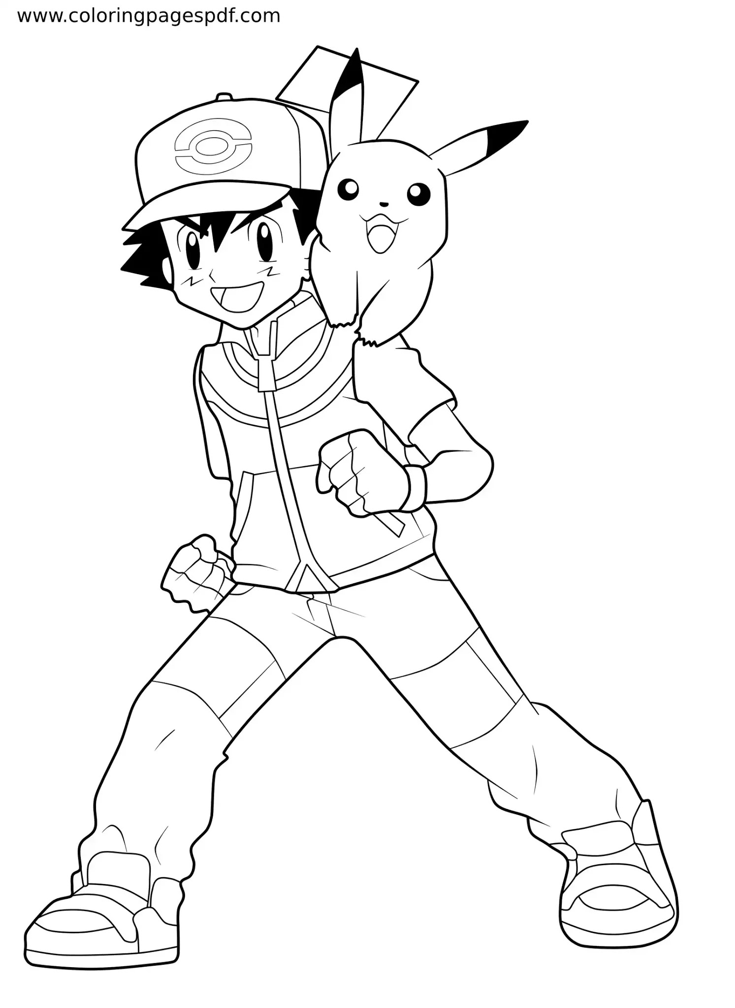Coloring Page Of Ash and Pikachu