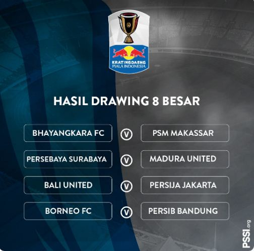 Jadwal & Hasil Undian Babak 8 Besar Piala Indonesia