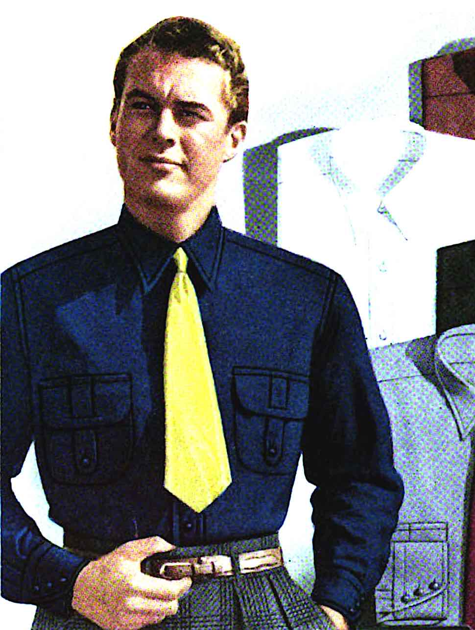 1941 fashion colors for men, a am in blue and yellow