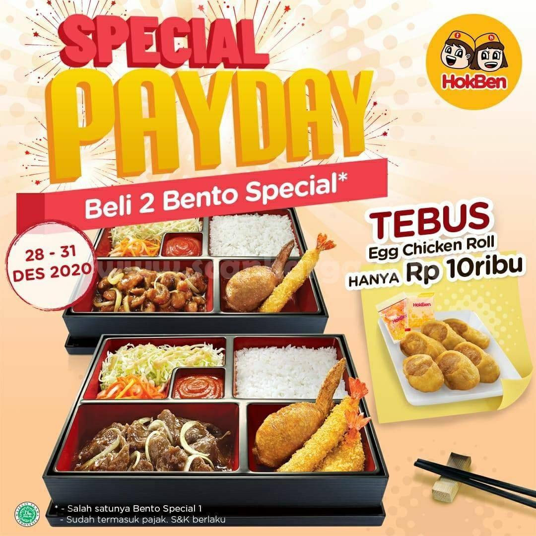HOKBEN Promo PAYDAY – Beli 2 Bento Special TEBUS Egg Chicken Roll hanya Rp 10.000