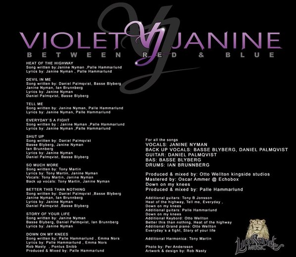 VIOLET JANINE - Between Red And Blue (2016) back