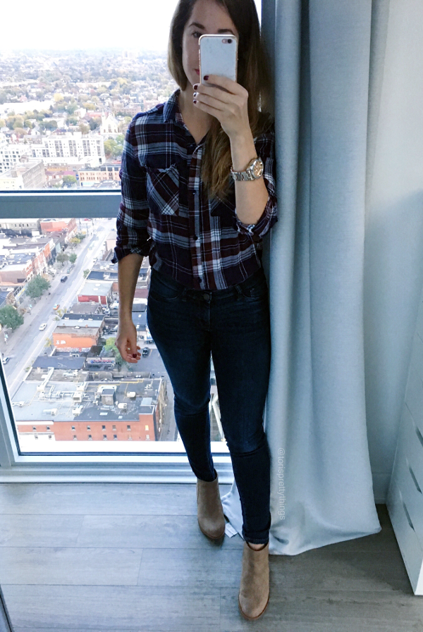 Everyday Fall Plaid Flannel Outfit, Plaid Shirt, Flannel Shirt, Jeggings, light tan booties, beige booties, rose gold watch outfit - Tori's Pretty Things Blog
