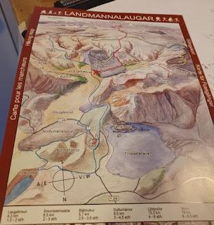 Mapa de Landmannalaugar, las Tierras Altas de Islandia, Iceland.