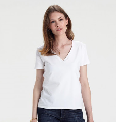 YUNION T white classic deep relaxed v neck t shirt