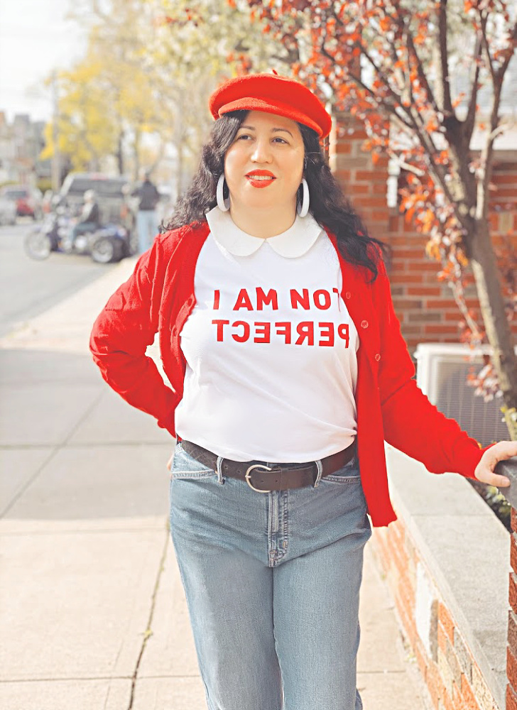 A Vintage Nerd, Vintage Blog, Retro Style Blog, Retro Style Fashion, Sixties Style, Gap Wide Legged Jeans, JCrew Tee, I am not perfect, Red Beret, Vintage Hats, Curvy Blogger, Disabled Fashion, Fashion for over 40, Inspirational Mother, Mom Blog, Retro Blog, Retro Blogger, Inspirational Tee, Casual Retro, Casual Vintage. Being not Perfect