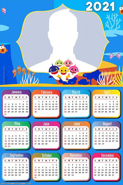 Baby Shark: Calendario 2021 para Imprimir Gratis.