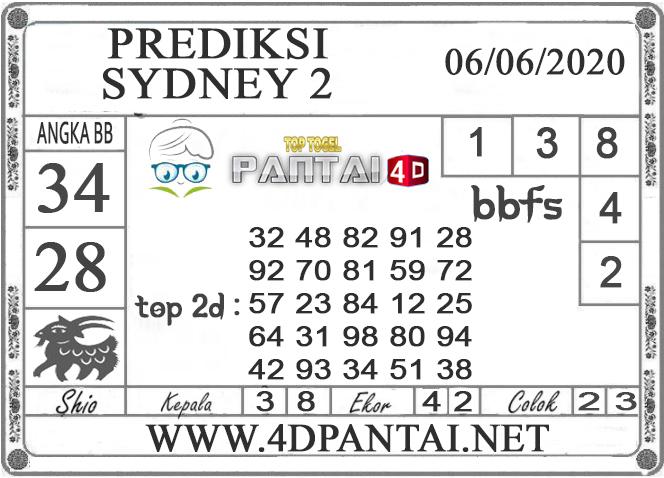 PREDIKSI TOGEL SYDNEY 2 PANTAI4D 06 JUNI 2020