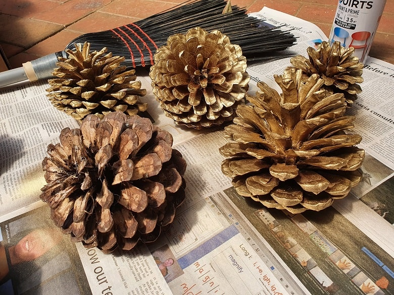 DIY gold pine cones