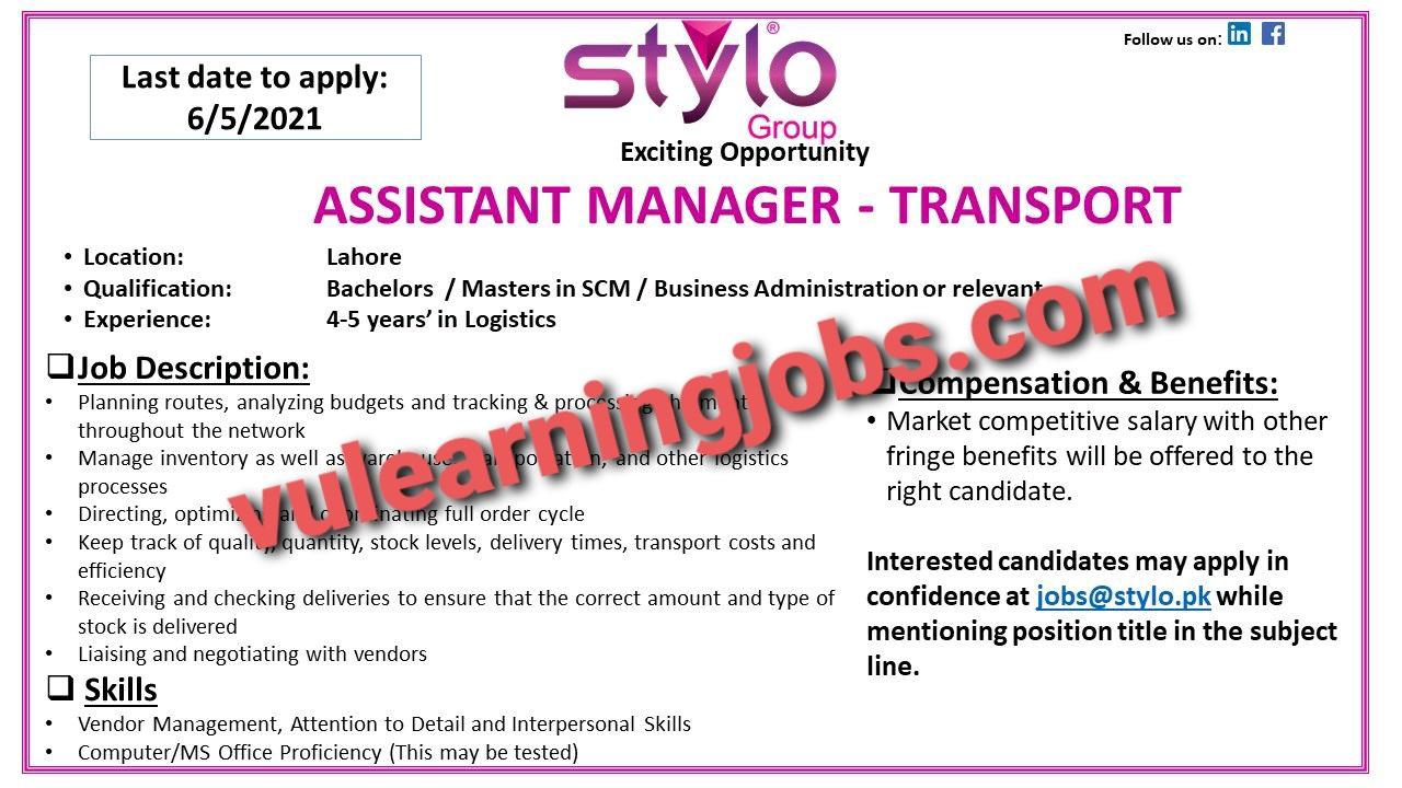 Stylo Pvt Ltd Jobs In Pakistan May 2021 Latest | Apply Now