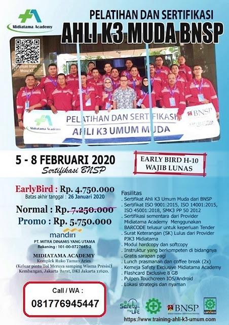 Ahli K3 Muda BNSP tgl. 5-8 Februari 2020 di Jakarta