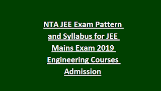 NTA JEE Exam Pattern and Syllabus for JEE Mains Exam 2019 Engineering Courses Admission