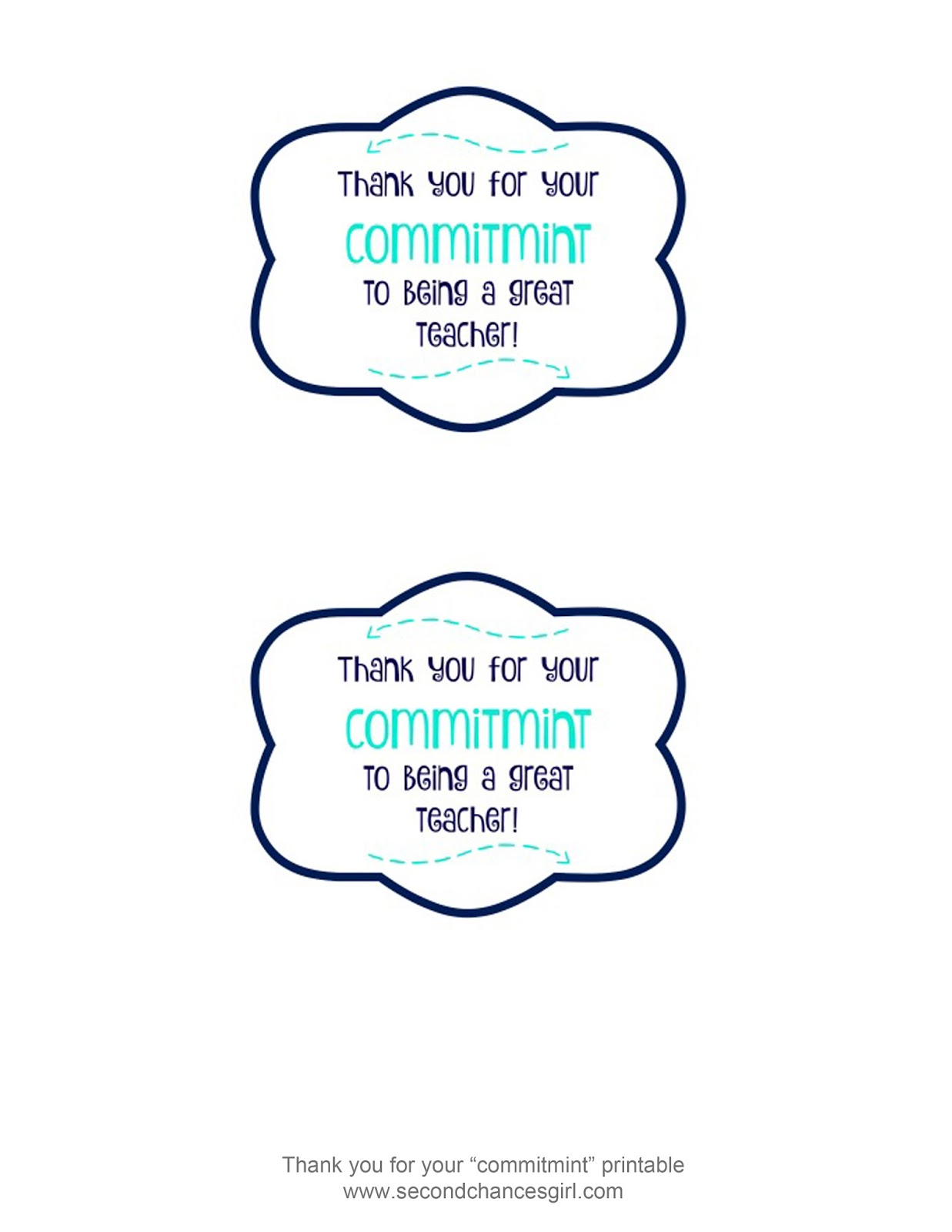 Lucrative image throughout thank you for your commit mint printable