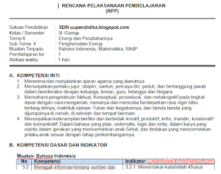 Download RPP Kelas 3 Tema 6 Semester 2 Kurikulum 2013 Revisi 2018