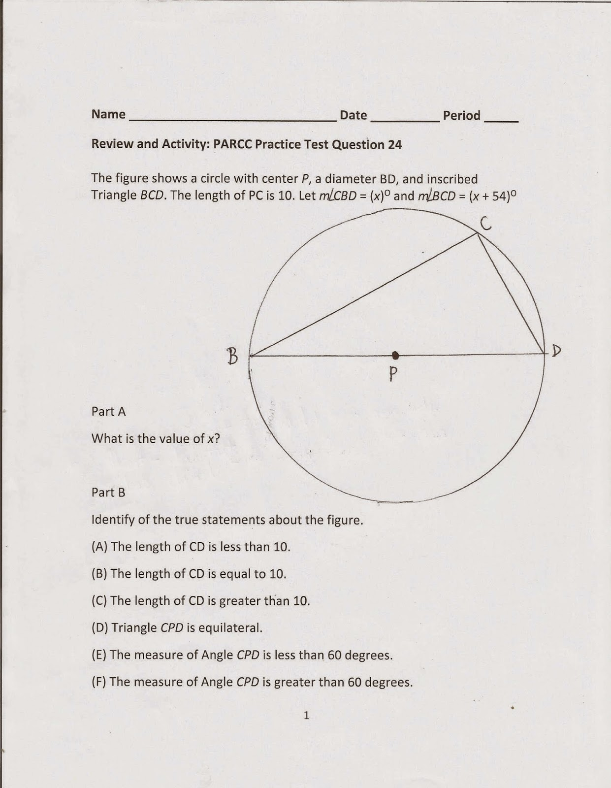 Geometry Common Core Style Parcc Practice Test Question 24 Day 169