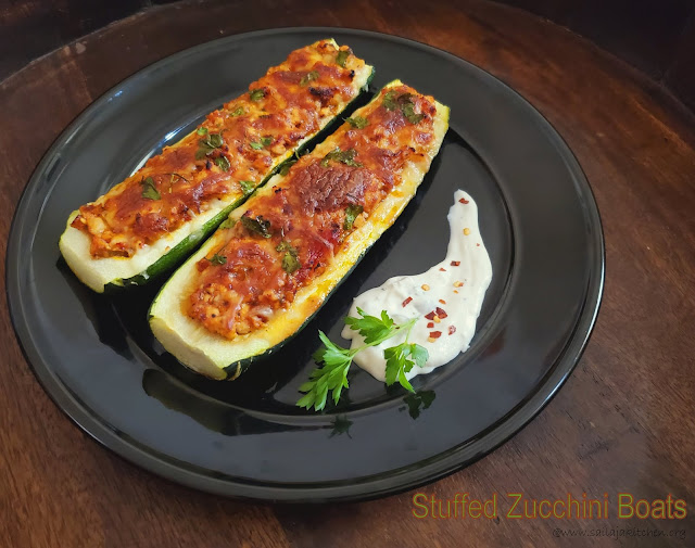 images of Stuffed Zucchini Boats / Zucchini Boats Recipe / Easy Baked Stuffed Zucchini Boats