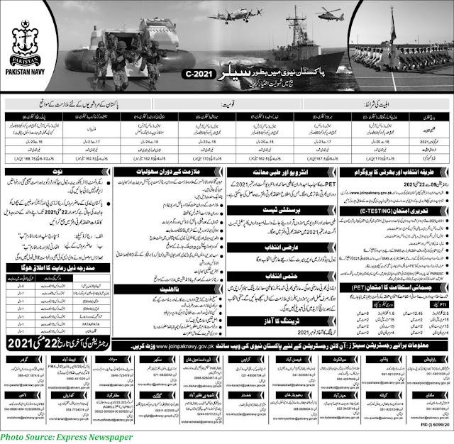 Join Pak Navy as Sailor 2021 C-2021 Register Online www.joinpaknavy.gov.pk