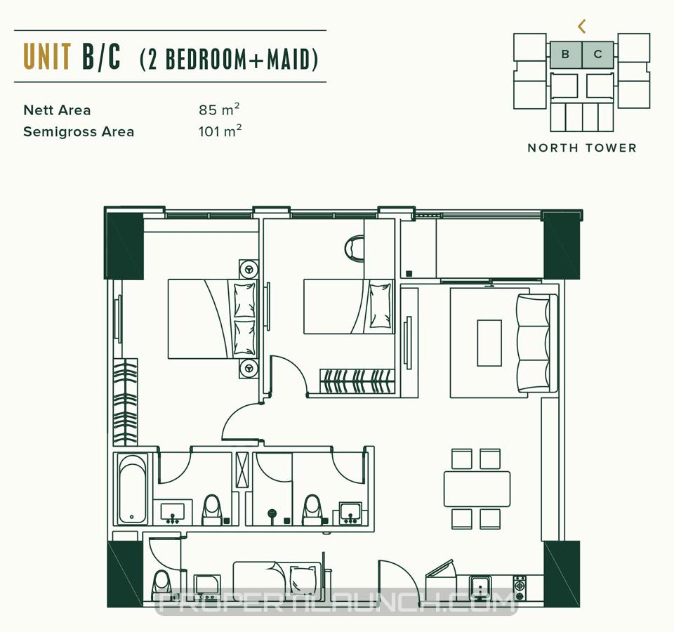 Unit B/C 2BR Apartemen Southgate Tanjung Barat Jakarta