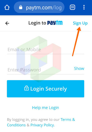 paytm sign up in jio phone