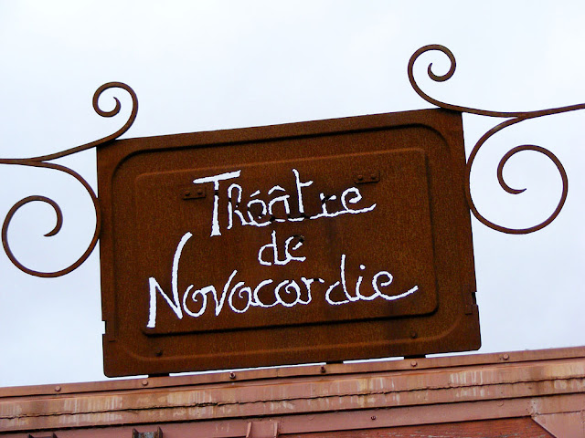 Theatre sign.  Indre et Loire, France. Photographed by Susan Walter. Tour the Loire Valley with a classic car and a private guide.