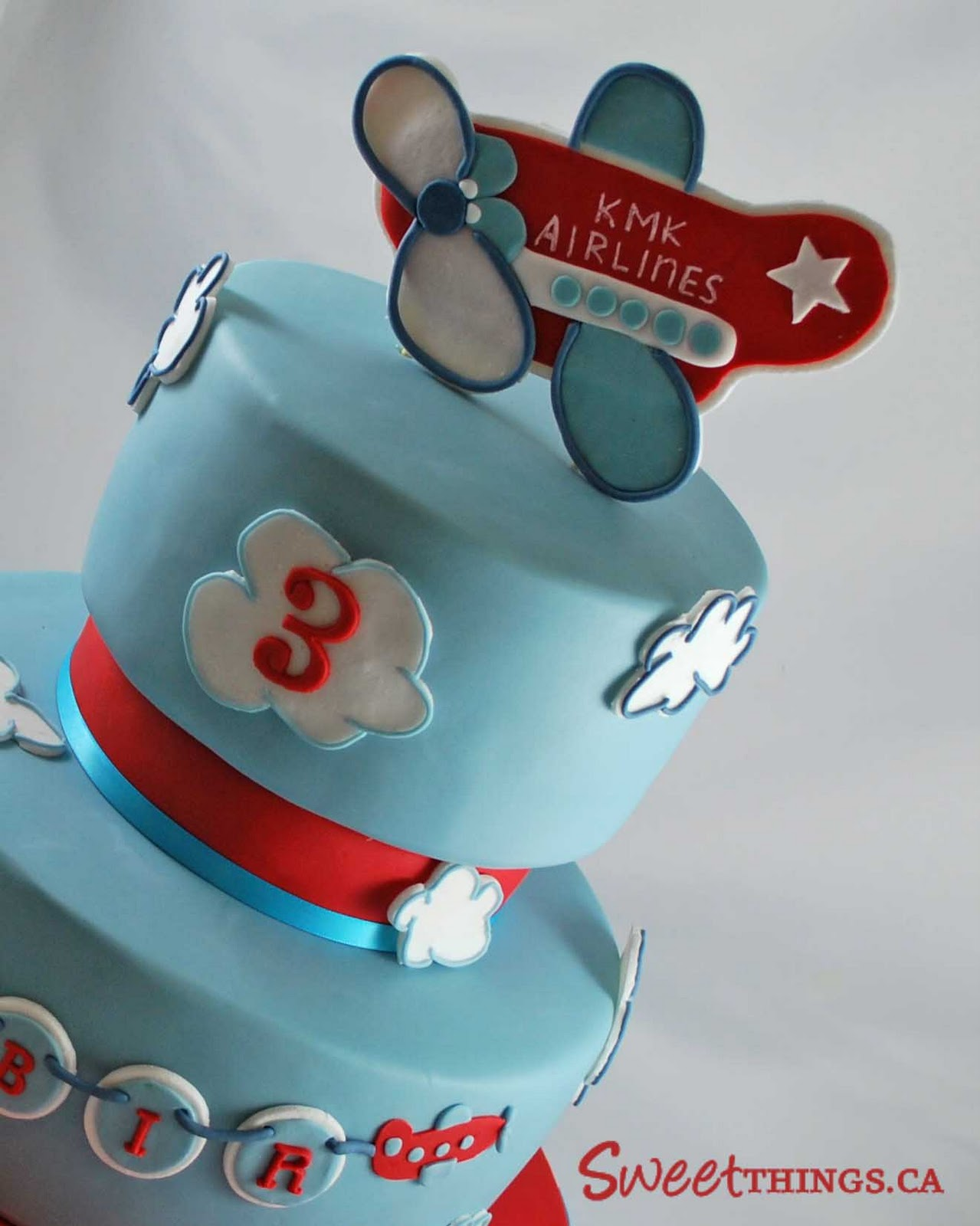Sweetthings 3rd Birthday Cake Cute Airplane Cake