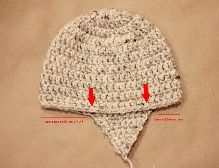 8d42a7f74bd Second earflap placement  Fold hat in half leaving slightly more stitches  in the front of the hat than the back. Place the second earflap to line up  with ...