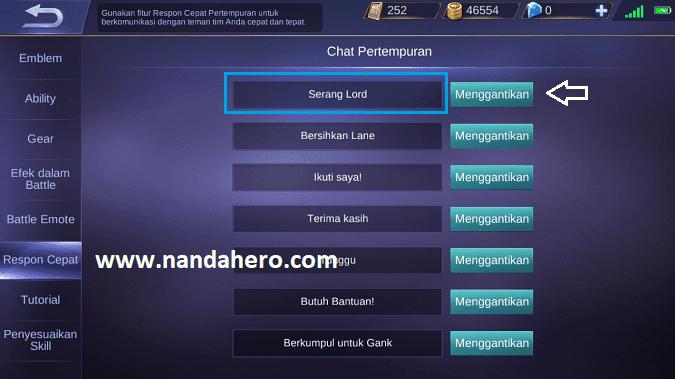 cara mengatur chat pertempuran di mobile legend