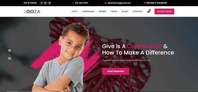 Nonprofit Fundraising & Charity WordPress Themes With Donation System   Goza