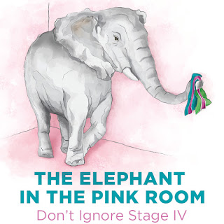 A large elephant in a pink room waves a teal, green and pink ribbon -- the ribbon for metastatic breast cancer.