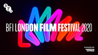 BFI London Film Festival written in white on a black background with neon light triangles in bright colours making a rainbow effect