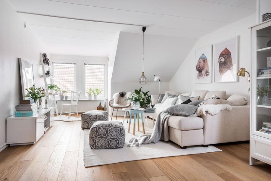 Skandynawska prostota z nutką pasteli i humoru, wystrój wnętrz, wnętrza, urządzanie mieszkania, dom, home decor, dekoracje, aranżacje, styl skandynawski, scandinavian style, biel, white, salon, pokój dzienny, living room