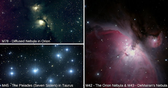 """Just a few sample images taken by 8th-grade science students at Plymouth South Middle School, Plymouth, MA. M78 and M45 imaged on Insight Observatory's 16"""" f/3.7 astrograph reflector (ATEO-1) in New Mexico, USA and M42, and M43 imaged on the 12.5"""" f/9 Ritchey-Chretien (ATEO-3) located in the Rio Hurtado Valley, Chile."""